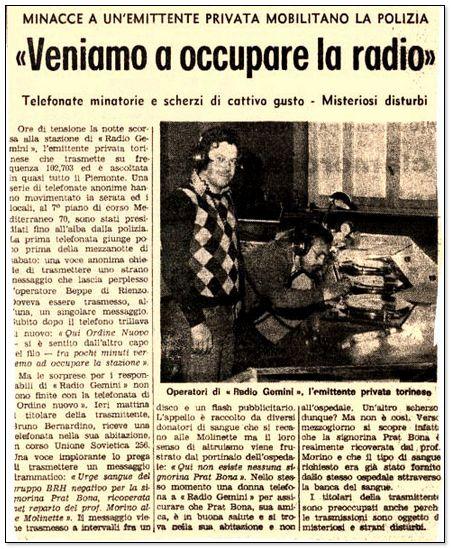 Radio gemini one X - Storia della radiotelevisione italiana. Torino, anni '70: Radio Gemini One