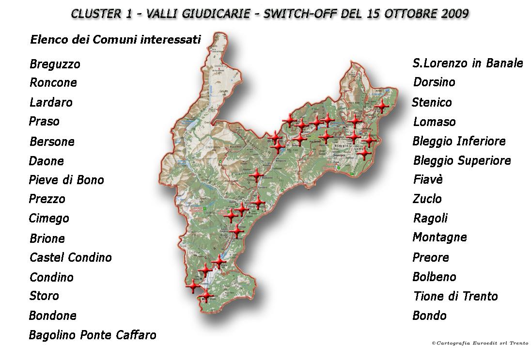 Valli Giudicarie con comuni.1255084136 - Digitale terrestre: parte meglio che in Piemonte lo switch-off del Trentino. Ecco calendario e mappe