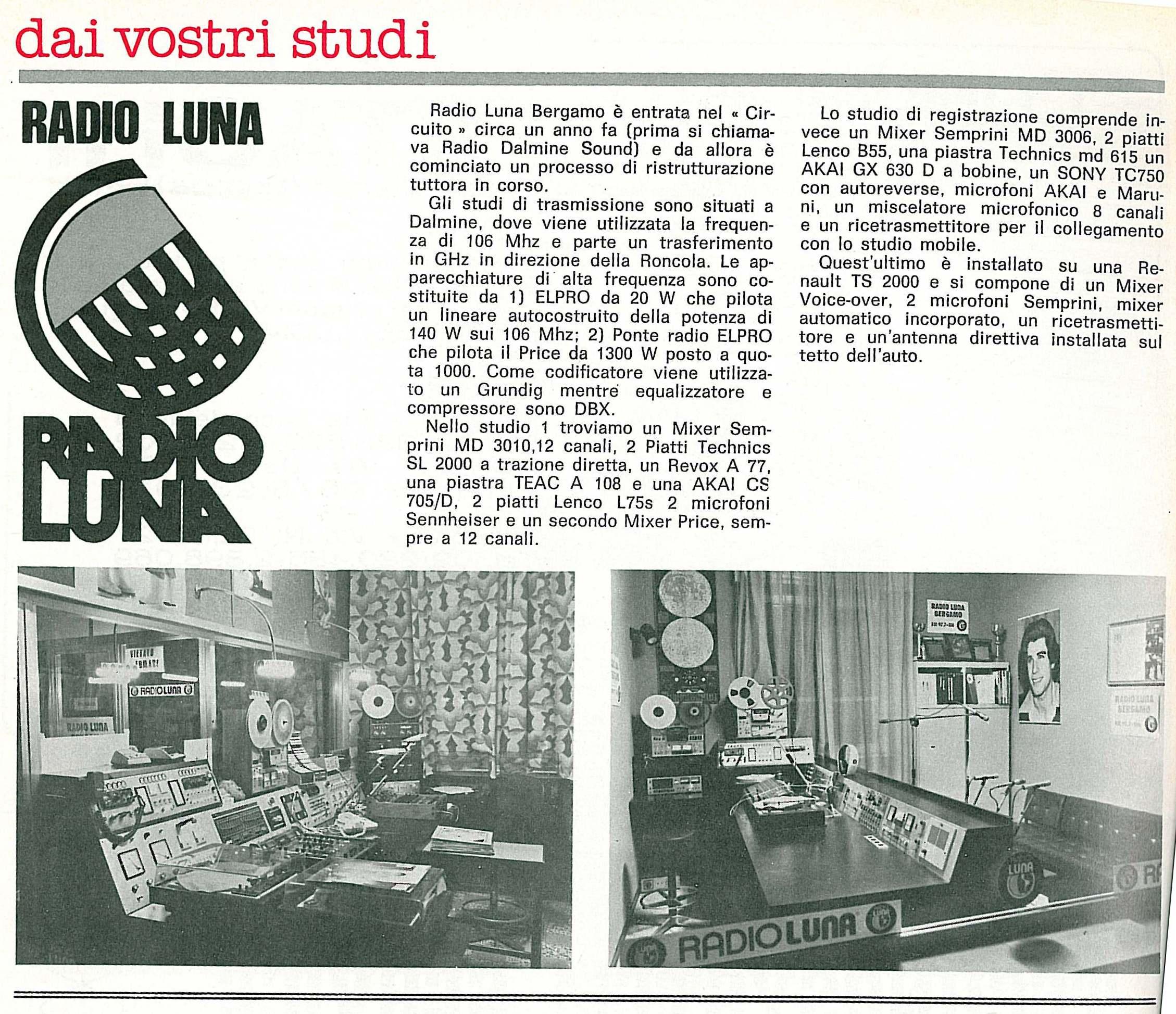 Radio Luna Bergamo - Radio. Il viaggio di Enzo Mauri tra i protagonisti delle emittenti libere degli anni '70 e '80