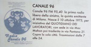 Canale 96 manifesto1 300x157 - Storia della radiotelevisione italiana. Lombardia: da Radio Regione a Italia Radio sull'esperienza di Milano Centrale