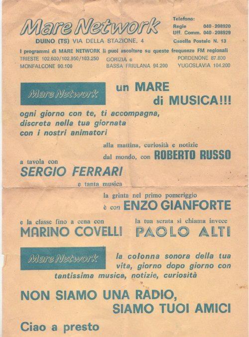 radio mare network locandina - Storia della radiotelevisione italiana: Mare Network, quando il Friuli era un laboratorio di sperimentazione della radiofonia italiana