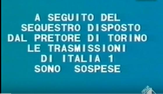 sospensione tramissioni Italia 1 - Storia della radiotelevisione italiana. Torino, 1986: non passa lo straniero (milanese)