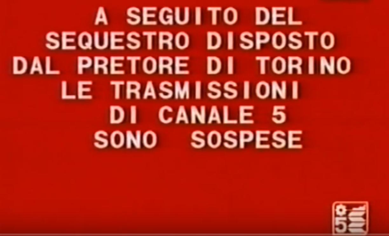 sospensione tramissioni canale 5 - Storia della radiotelevisione italiana. Torino, 1986: non passa lo straniero (milanese)
