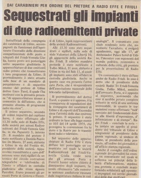 Radio Udine Tullio Mikol - Storia della Radiotelevisione italiana. Novembre 1975: 86 radio libere riunite a Firenze per il primo censimento radiofonico italiano