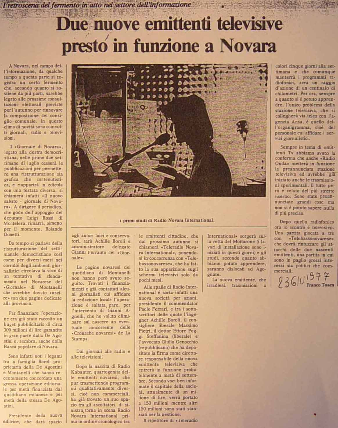 TBN articolo - Storia della radiotelevisione italiana. Piemonte, Telebassonovarese: dalla cupola della Basilica di San Gaudenzio