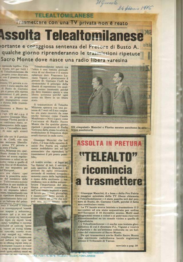 telealtomilanese articolo 1 - Storia della Radiotelevisione Italiana. 1975: la tv privata si spoglia