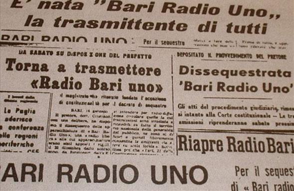 Bari20Radio20Uno20giornali - Storia della Radiotelevisione italiana. Puglia, agosto 1975: è in onda Bari Radio Uno