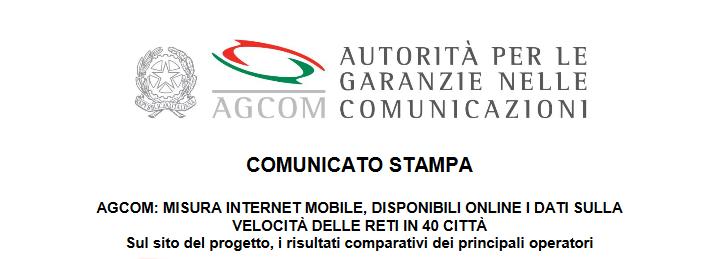 Immagine - Internet mobile. Comunicato stampa AgCom rivela operatori con le reti più veloci