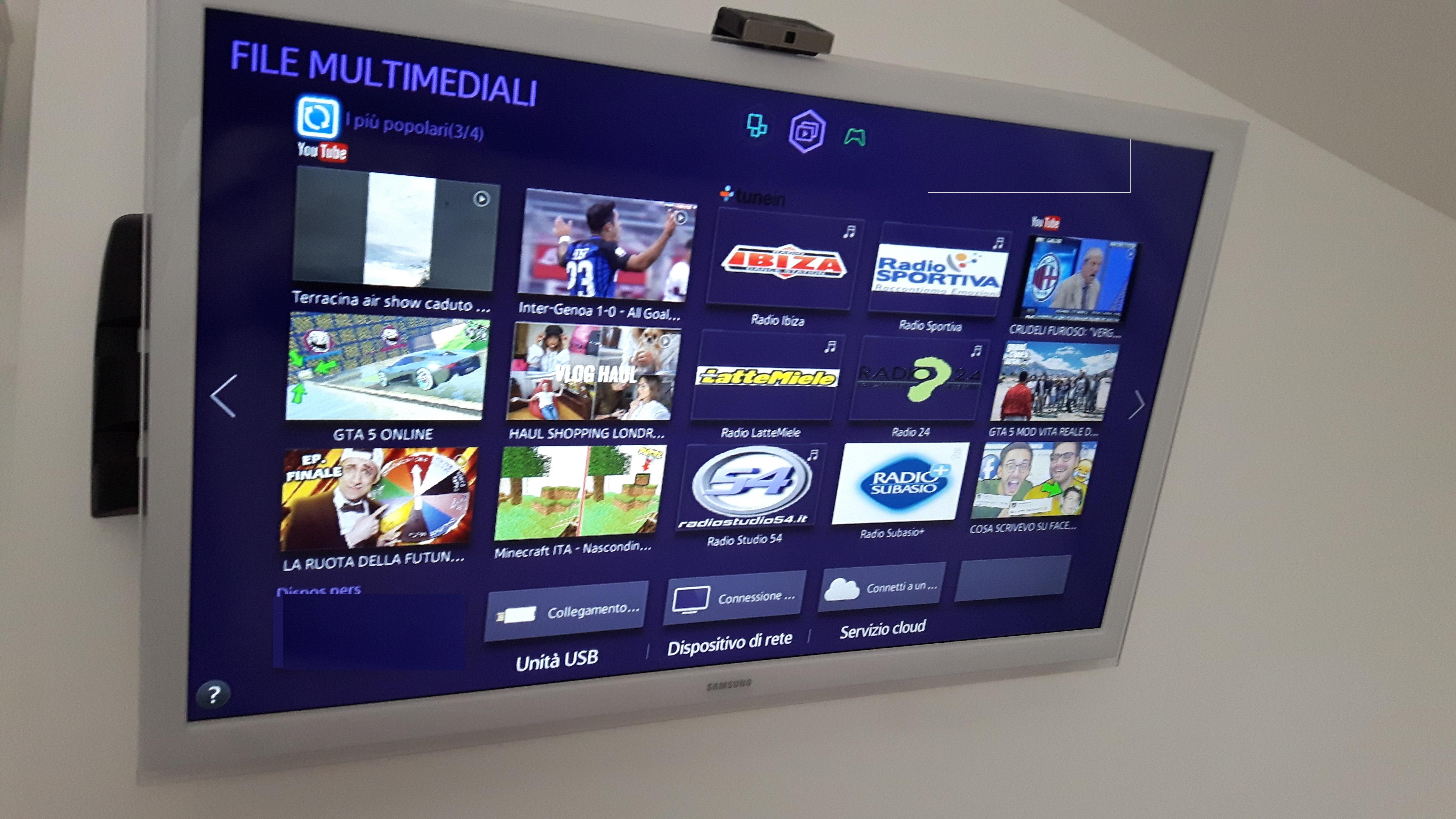 """TuneIn smart tv samsung 1 - Radio on Tv. Le smart tv """"consigliano"""" le radio. Ecco come emergeranno i più forti nell'era 4.0"""
