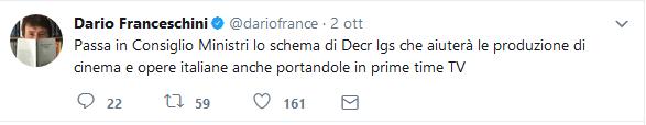 """franceschini tweet - TV. Riforma Tusmar, approvato schema decreto. Franceschini: """"aiuto alla creatività""""; i broadcaster protestano"""