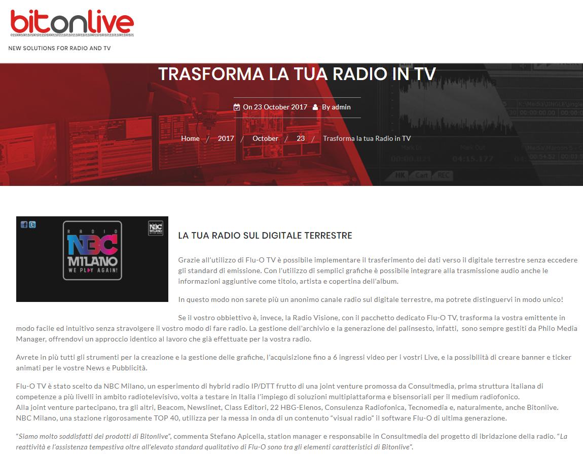 Bitonlive NBC Milano - Radio 4.0. Ibridizzazione piattaforme: visual radio su smart tv. Partono i test