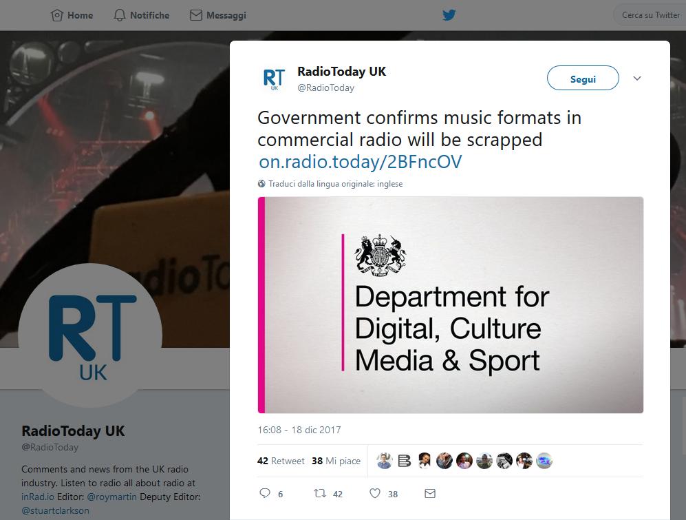 radio today - Radio, UK. Deregulation mercato attraverso soppressione norme obsolete sui formati radiofonici