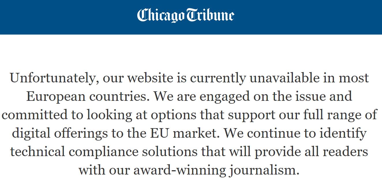Chicago tribune, GDPR, UE
