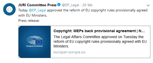 Tweet Commissione affari legali UE - Diritto d'autore. Riforma UE sul copyright: dopo il via libera della commissione Juri, si attende il vaglio della plenaria