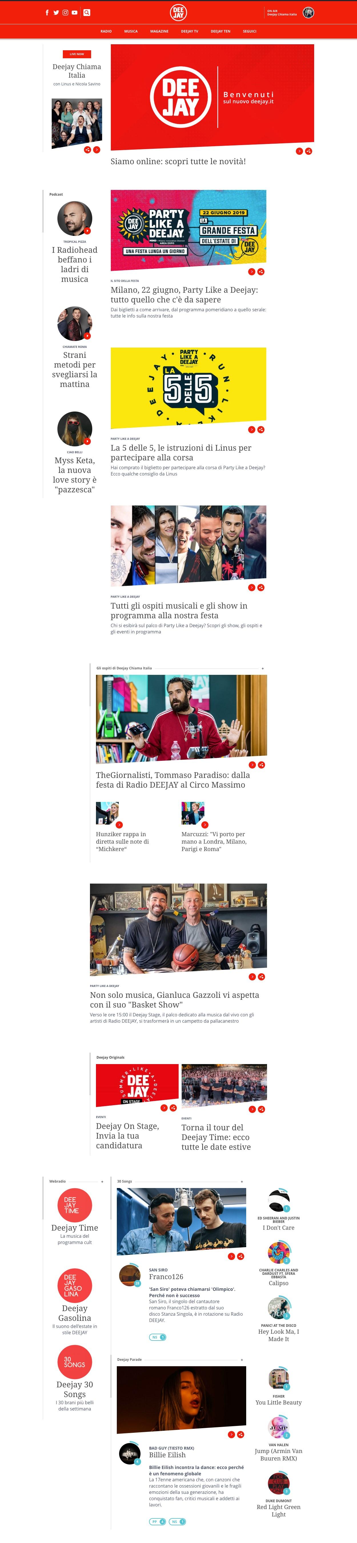 deejay.it  - Radio. DeeJay inaugura il nuovo sito, fortemente social (area dove la stazione domina sui competitor). Ma delude il brand bouquet, scarso e nascosto
