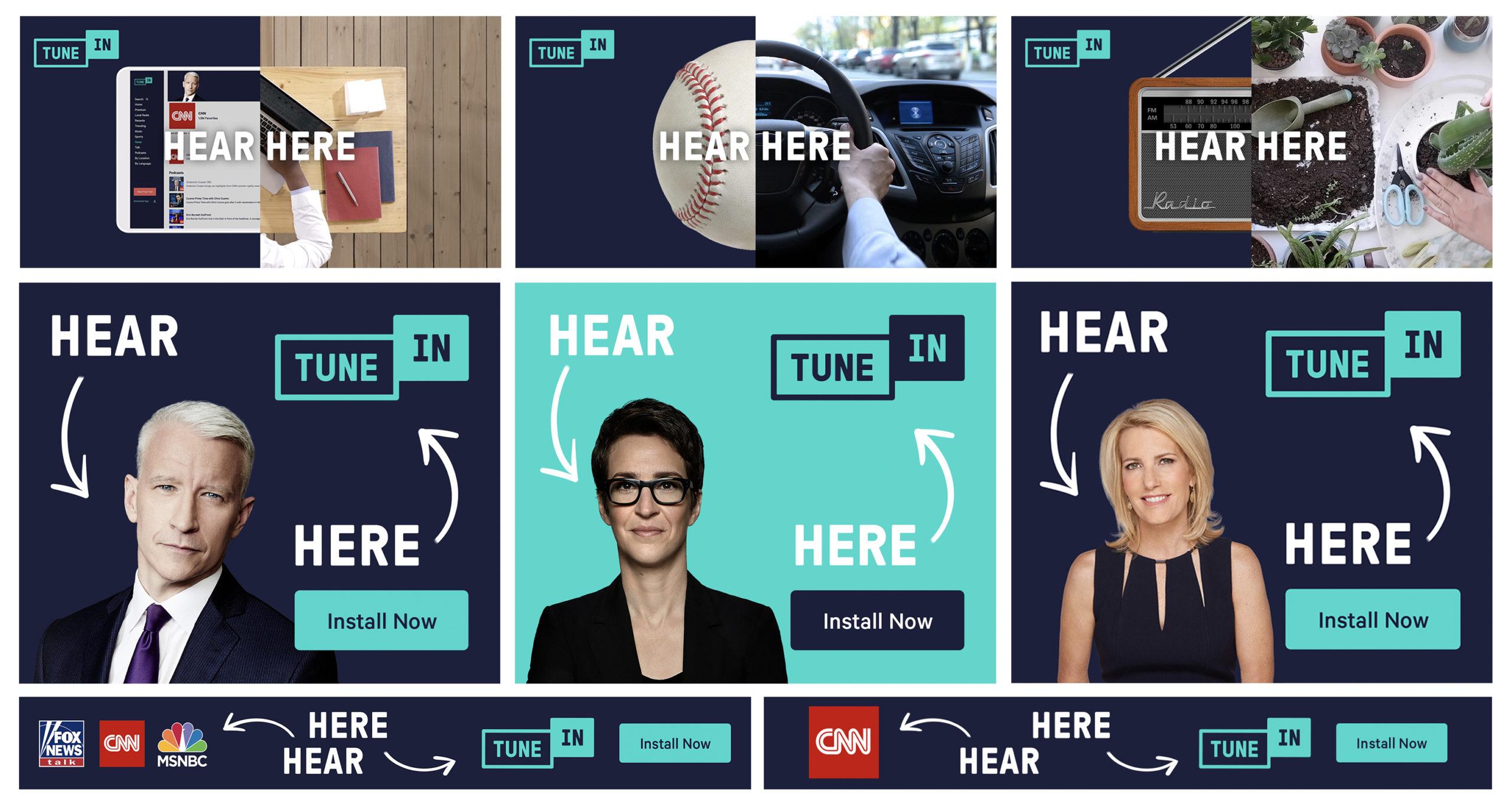 TuneIn Hear Here advertising - Radio. Con RAI Play Sound rispondiamo ai nostri veri competitor: non RTL o DeeJay, ma Spotify e Youtube