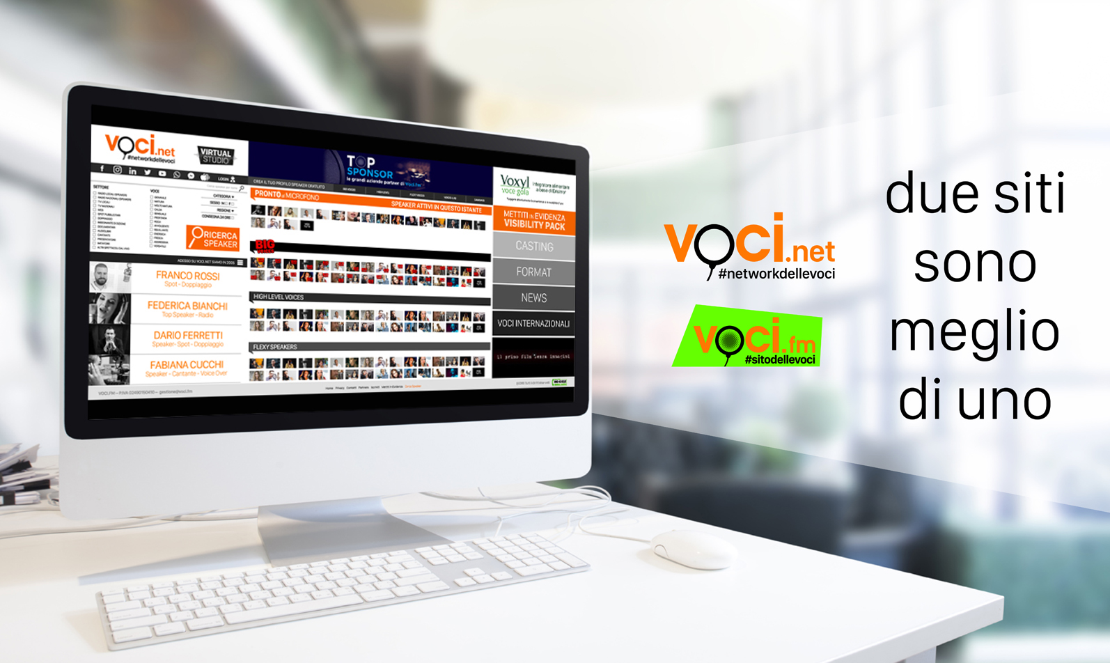 VOCInet lancio - Audioproduzioni. Voci.fm si sdoppia in Voci.net creando un motore di ricerca di 3000 speaker italiani