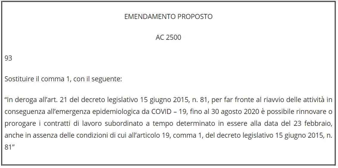 emendamenti - Radio e Tv. Emendamenti in sede di conversione DL 34/2020: credito imposta per spese energetiche 2020 emodifica contratti a tempo determinato