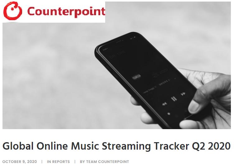 counterpoint research su andamento streaming musicale - SOD. Streaming musicale non cede alla crisi: ricavi in leggero calo nel secondo trimestre, ma crescono le offerte pay. Sul podio la cinese Tencent per numero di utenti attivi. Spotify in testa per abbonamenti