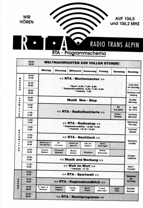 RTA Radio TransAlpin 1 - Storia della radiotelevisione italiana. Bolzano, Radio TransAlpin: l'antenna più alta d'Europa con 400.000 W ERP per servire Austria e Germania dall'Italia