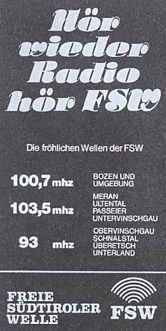 fsw rta radio transalpin 4 - Storia della radiotelevisione italiana. Bolzano, Radio TransAlpin: l'antenna più alta d'Europa con 400.000 W ERP per servire Austria e Germania dall'Italia