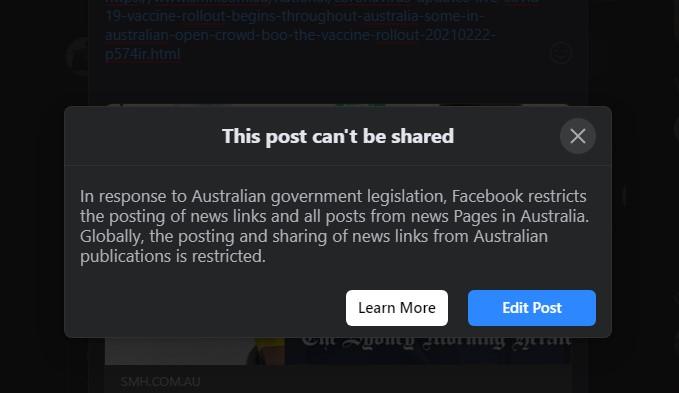 error posting - Editoria e web. Il disaccordo australiano tra Facebook e gli editori causa la cancellazione di contenuti dalla piattaforma di Zuckerberg