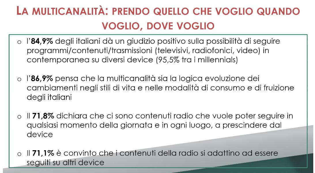 visualradio 3 - Radio. Ricerca Censis ratifica visual radio e tendenze utenti. Su 41 mln, 19 ascoltano con schermi. Non interessa il device ma il contenuto