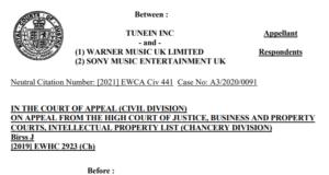 TuneIn, Warner, Sony