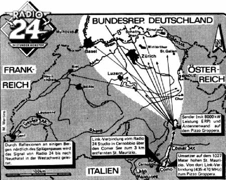 Radio 24 Zurigo logo dell'epoca - Radio. Emittenti di confine: hanno ancora un senso nel 2021? In Svizzera si ricorda il tempo dei pirati e dei concorrenti italiani